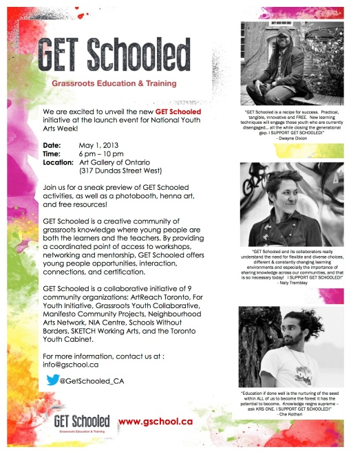Get Schooled Launch Flyer